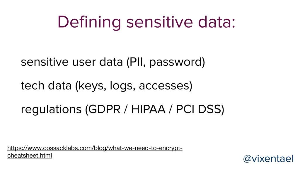 Defining sensitive data: sensitive user data (PI...