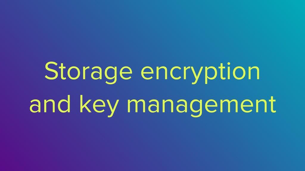 Storage encryption and key management