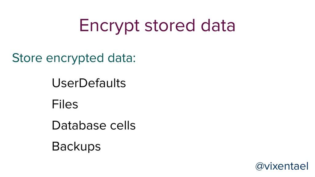 Store encrypted data: Encrypt stored data UserD...