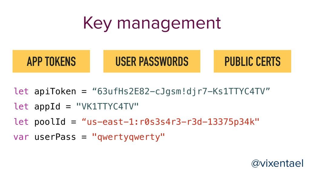 Key management APP TOKENS USER PASSWORDS PUBLIC...