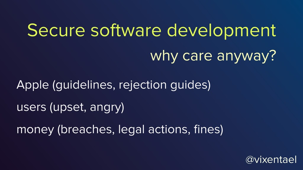 Secure software development Apple (guidelines, ...