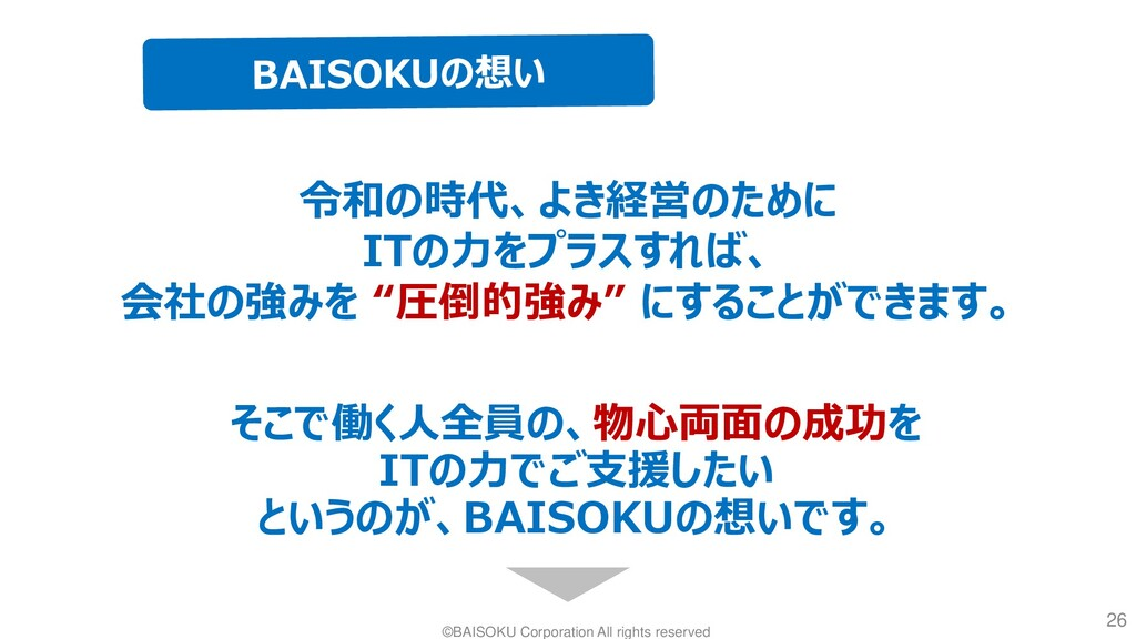©BAISOKU Corporation All rights reserved 26 令和の...