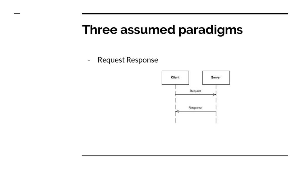 Three assumed paradigms - Request Response