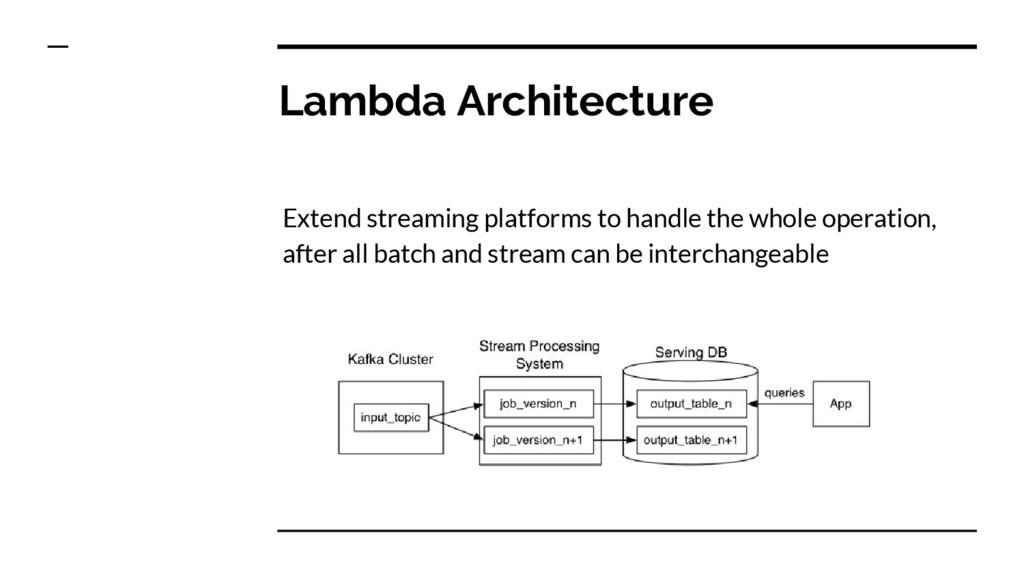 Lambda Architecture Extend streaming platforms ...
