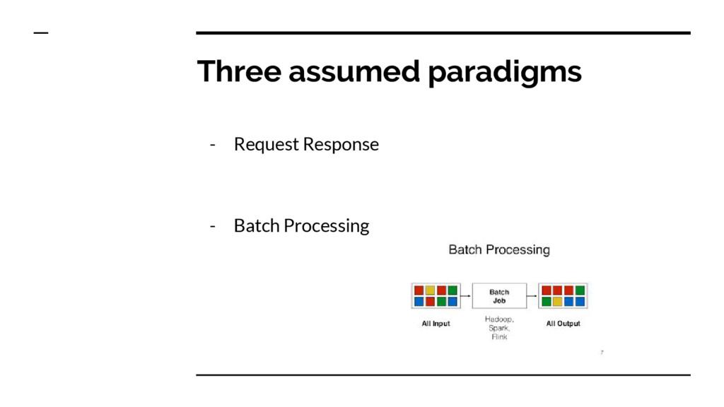 Three assumed paradigms - Request Response - Ba...
