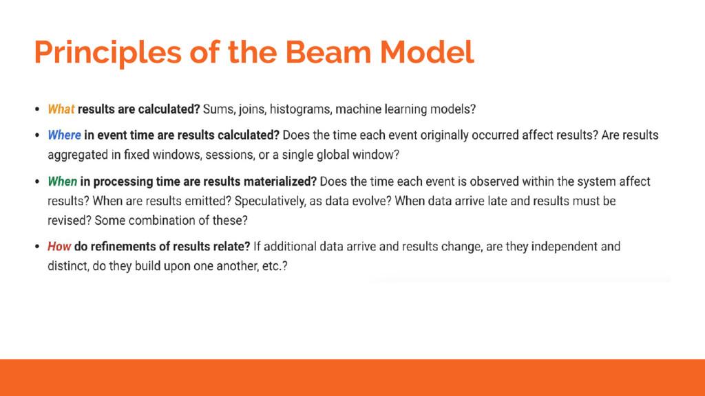 Principles of the Beam Model