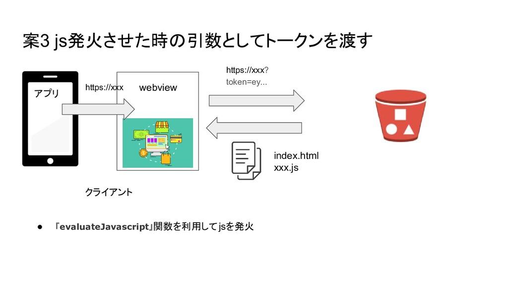 案3 js発火させた時の引数としてトークンを渡す index.html xxx.js クライア...