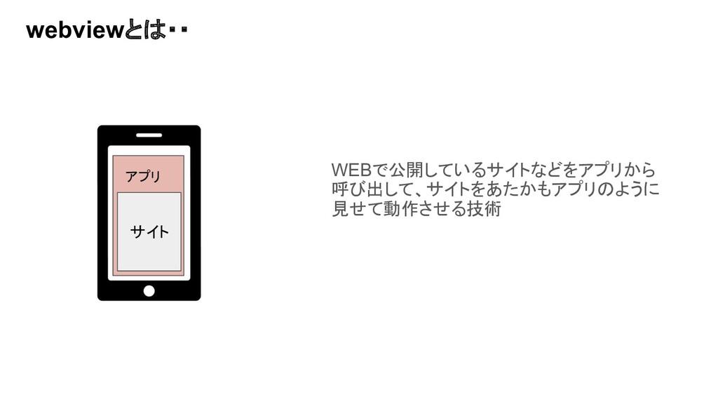 webviewとは・・ WEBで公開しているサイトなどをアプリから 呼び出して、サイトをあたか...