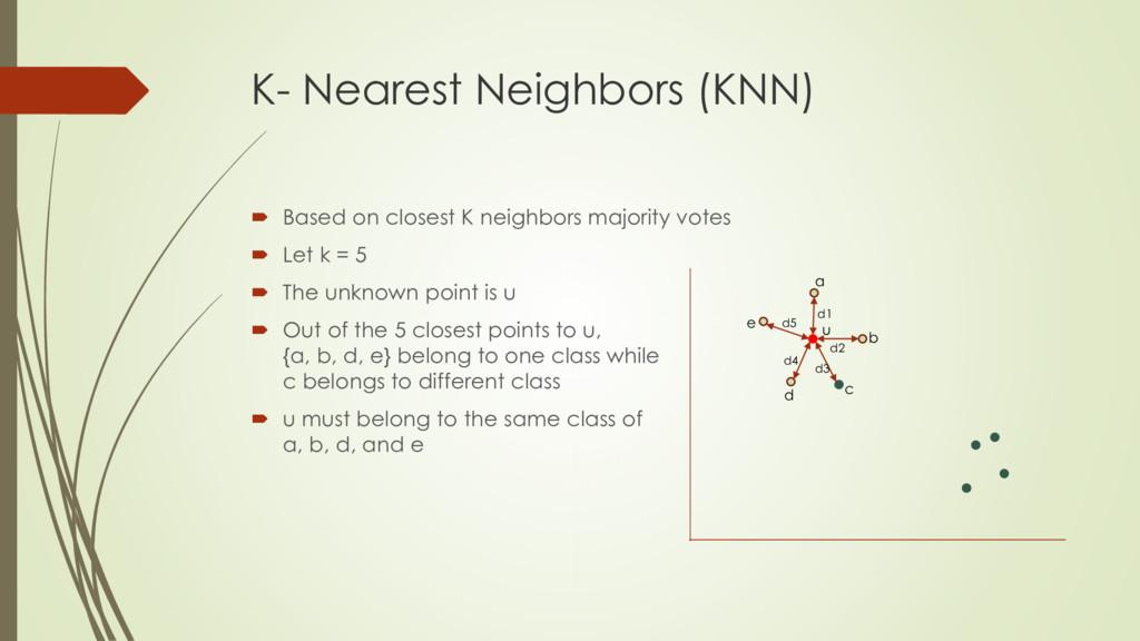 K- Nearest Neighbors (KNN)  Based on closest K...