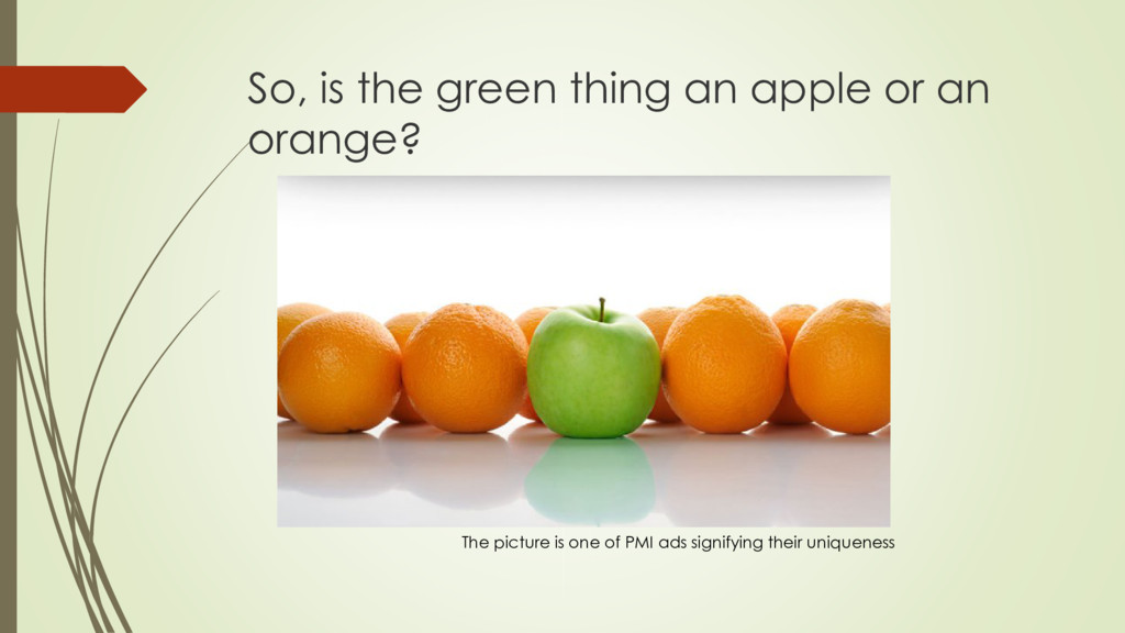 So, is the green thing an apple or an orange? T...