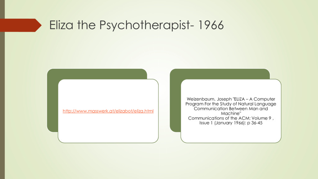 Eliza the Psychotherapist- 1966 http://www.mass...