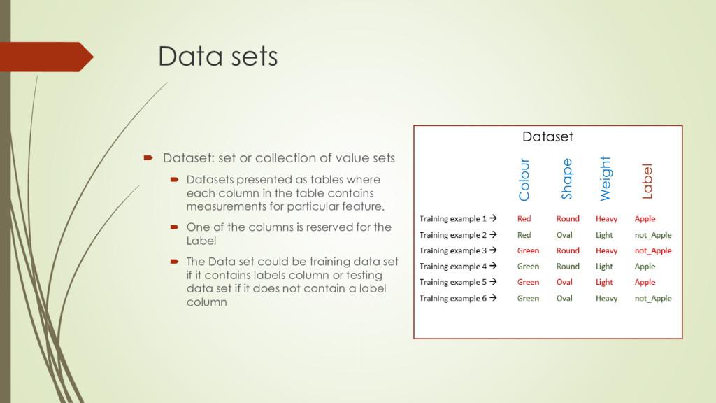 Data sets  Dataset: set or collection of value...
