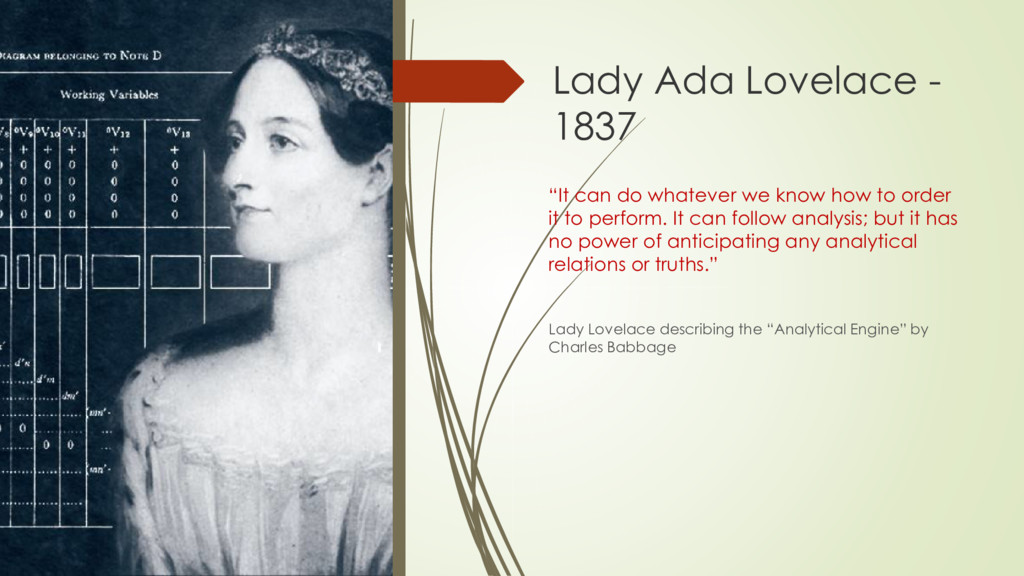 """Lady Ada Lovelace - 1837 """"It can do whatever we..."""