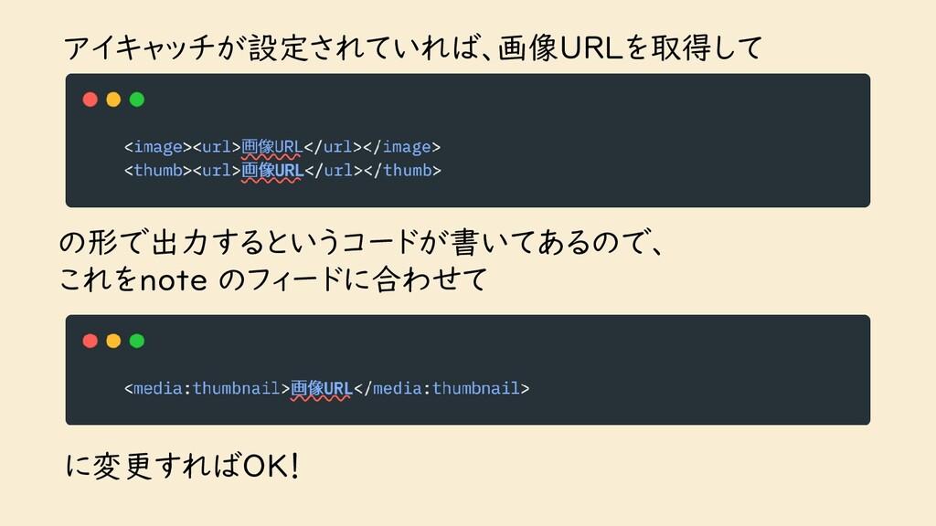 アイキャッチが設定されていれば、画像URLを取得して の形で出力するというコードが書いてあるの...