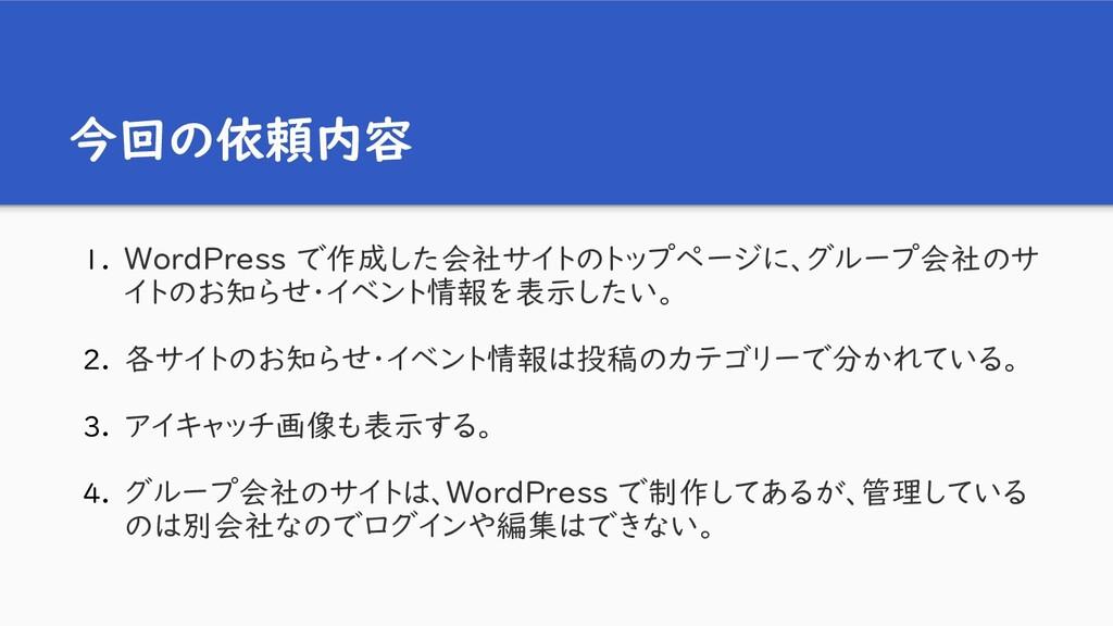 今回の依頼内容 1. WordPress で作成した会社サイトのトップページに、グループ会社の...