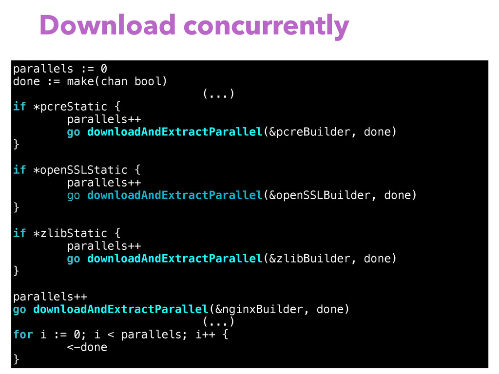 Download concurrently parallels := 0 done := ma...
