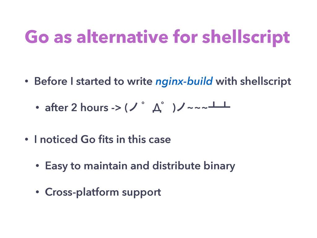 Go as alternative for shellscript • Before I st...