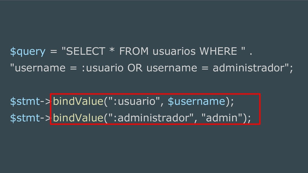 """$query = """"SELECT * FROM usuarios WHERE """" . """"use..."""