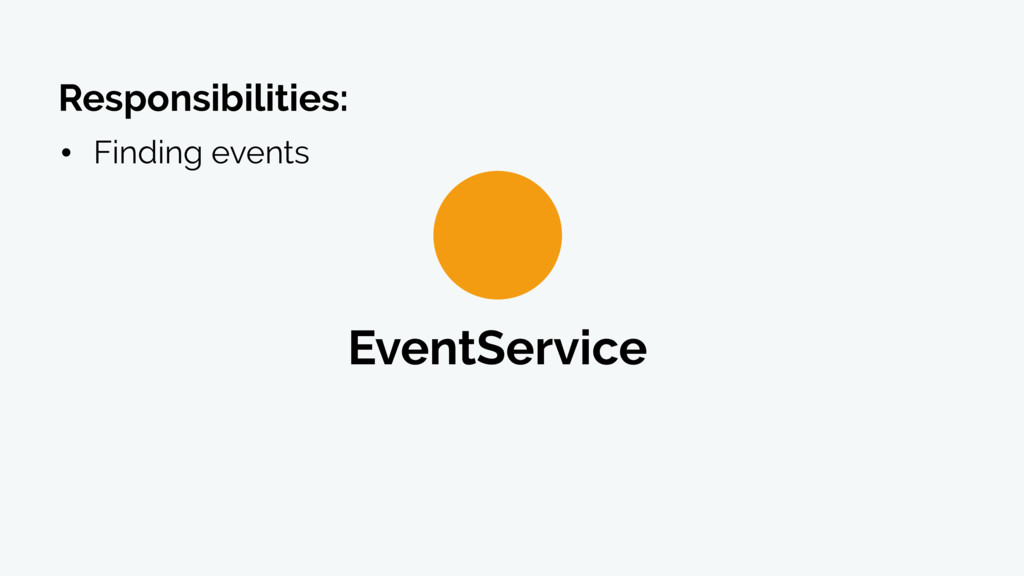EventService • Finding events Responsibilities: