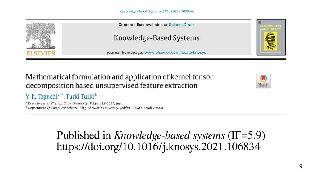 19 Published in Knowledge-based systems (IF=5.9...