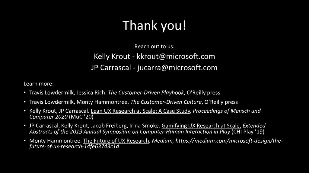 Thank you! Reach out to us: Kelly Krout - kkrou...