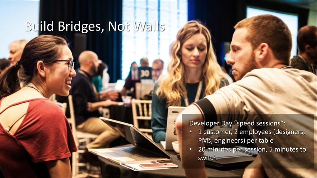 "Build Bridges, Not Walls Developer Day ""speed s..."
