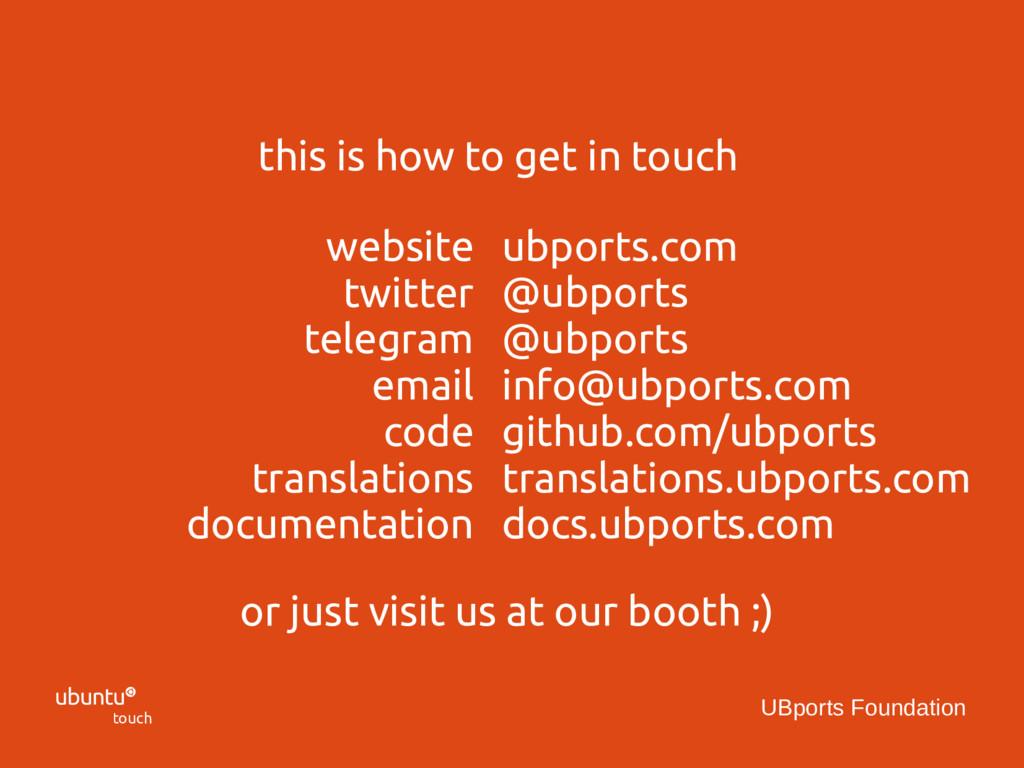  touch UBports Foundation ubports.com @ubports...