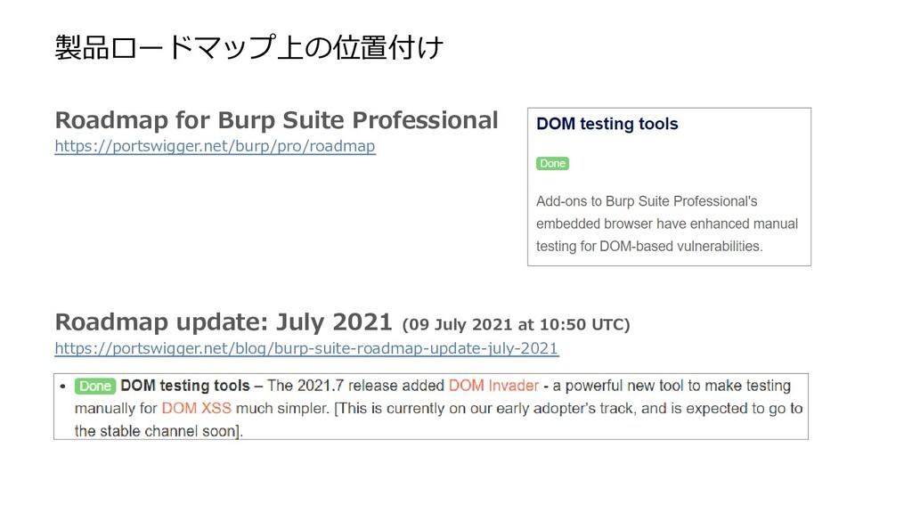 製品ロードマップ上の位置付け Roadmap for Burp Suite Professio...