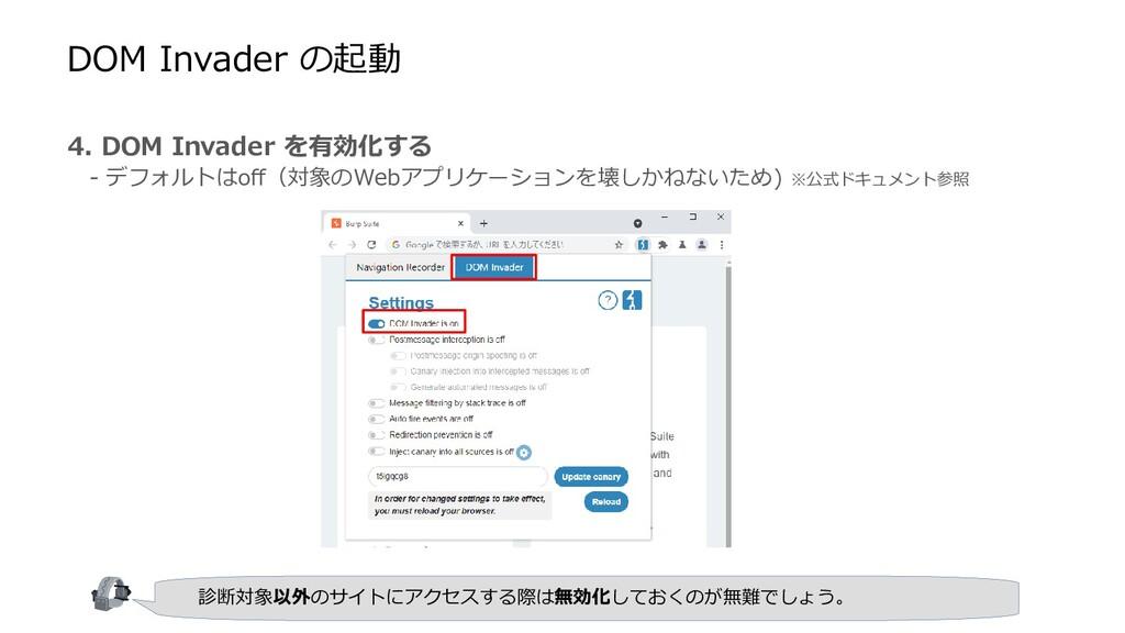 4. DOM Invader を有効化する  - デフォルトはoff(対象のWebアプリケーシ...