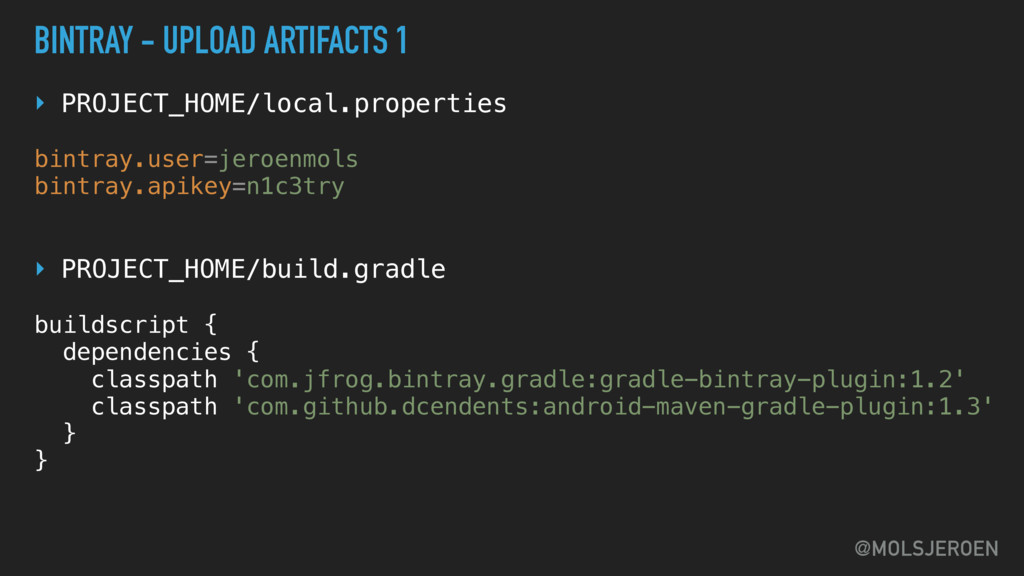 @MOLSJEROEN BINTRAY - UPLOAD ARTIFACTS 1 ‣ PROJ...