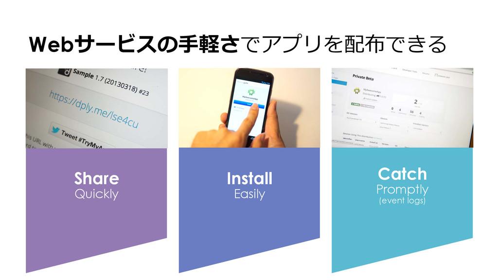 Webサービスの⼿手軽さでアプリを配布できる Share Quickly Install Ea...