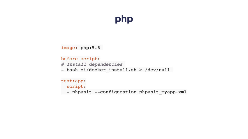 php image: php:5.6 before_script: # Install dep...