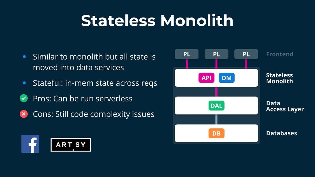 Stateless Monolith • Similar to monolith but al...