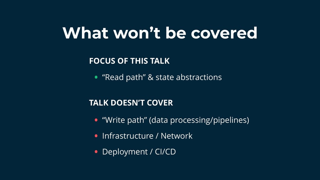 What won't be covered FOCUS OF THIS TALK TALK D...