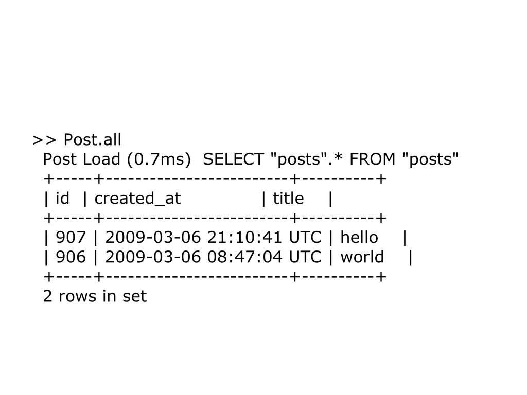 ">> Post.all Post Load (0.7ms) SELECT ""posts"".* ..."