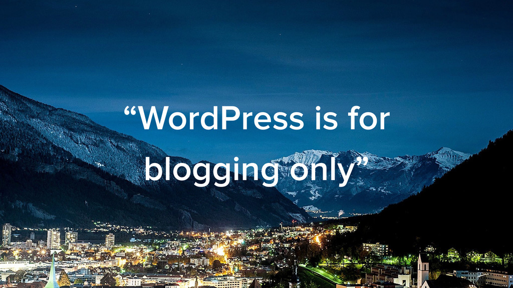 """""""WordPress is for blogging only"""""""