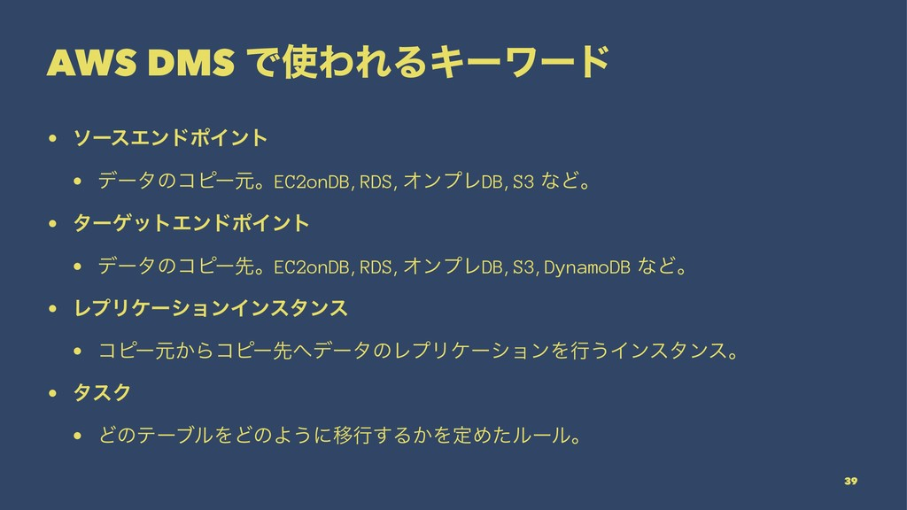 AWS DMS ͰΘΕΔΩʔϫʔυ • ιʔεΤϯυϙΠϯτ • σʔλͷίϐʔݩɻEC2o...