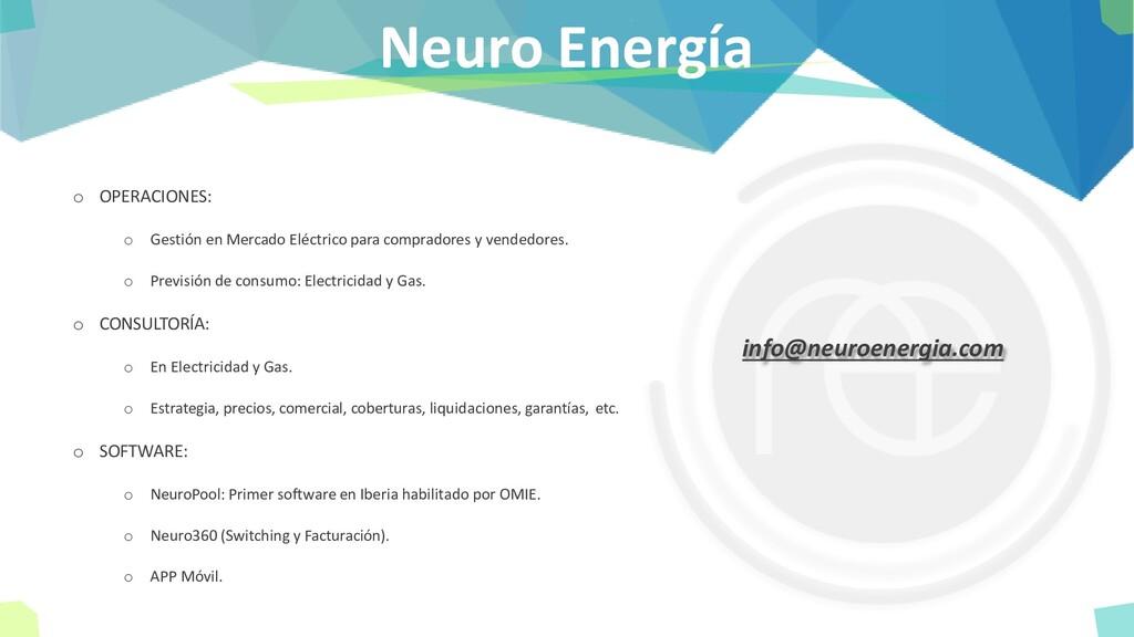 Neuro Energía o OPERACIONES: o Gestión en Merca...