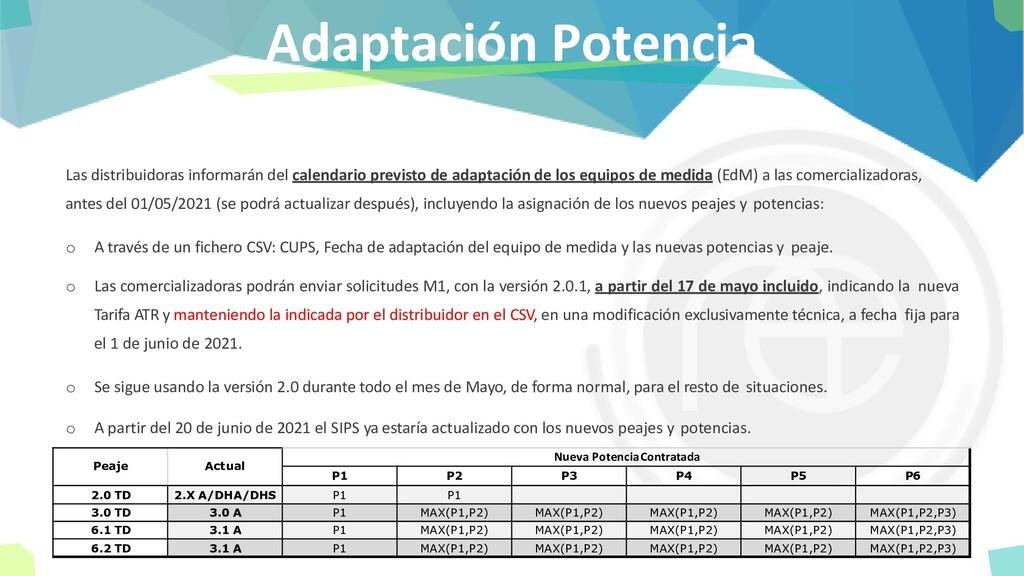 Adaptación Potencia Las distribuidoras informar...