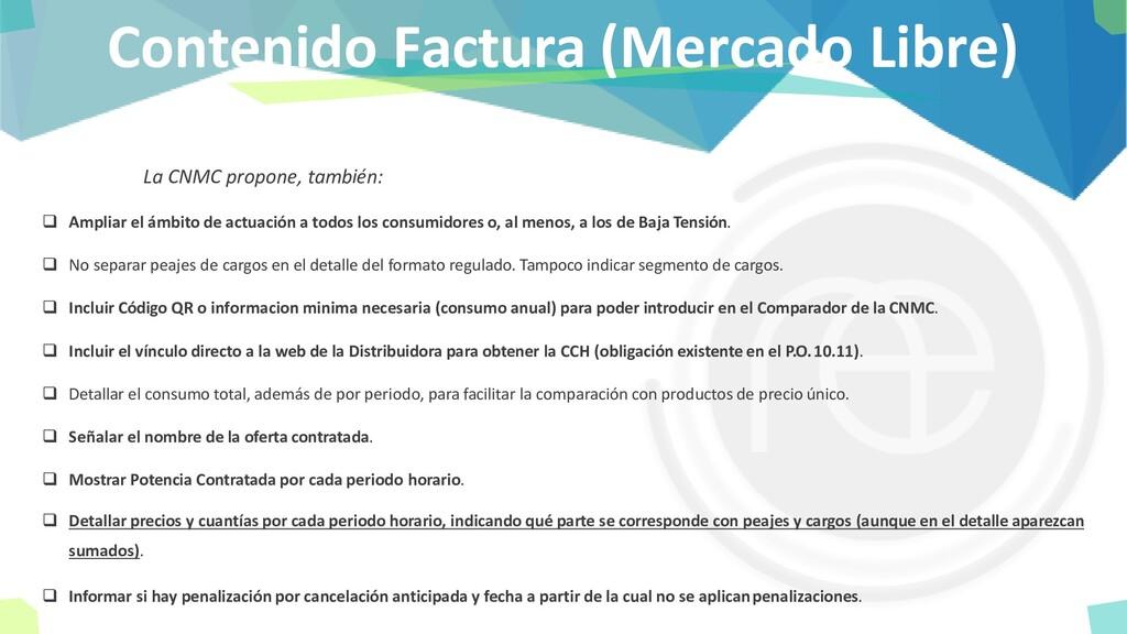 Contenido Factura (Mercado Libre) La CNMC propo...