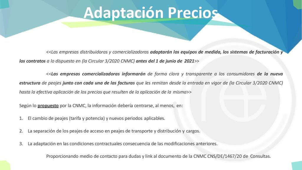 Adaptación Precios <<Las empresas distribuidora...