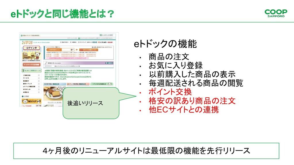 eトドックと同じ機能とは? eトドックの機能 • 商品の注文 • お気に入り登録 • 以前購入...