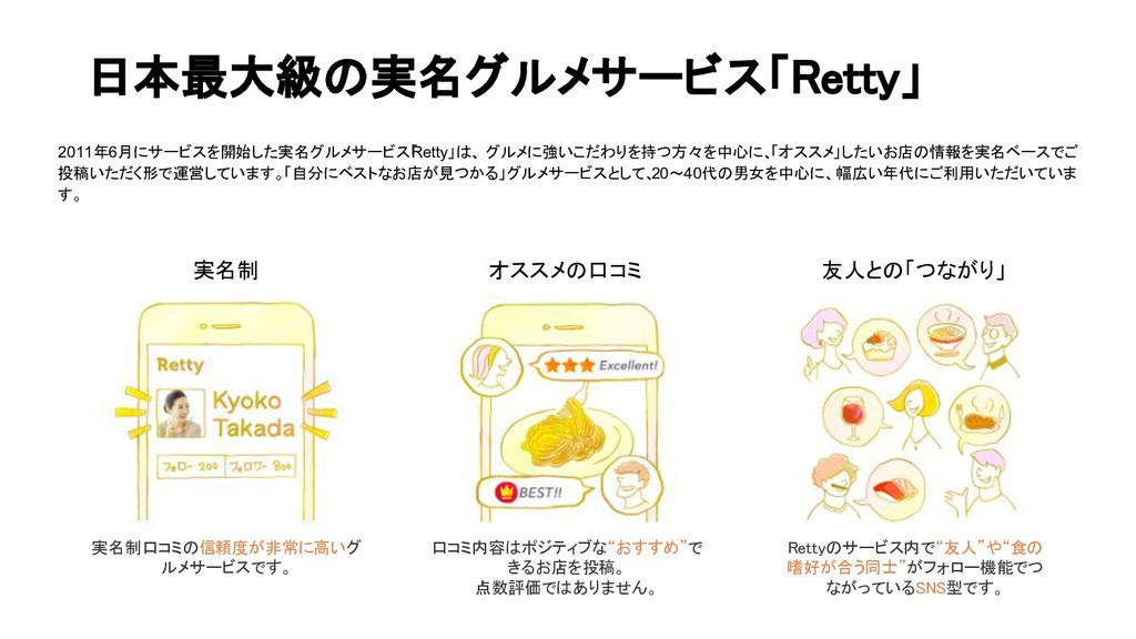 日本最大級の実名グルメサービス「Retty」 実名制 オススメの口コミ 友人との「つながり」 ...