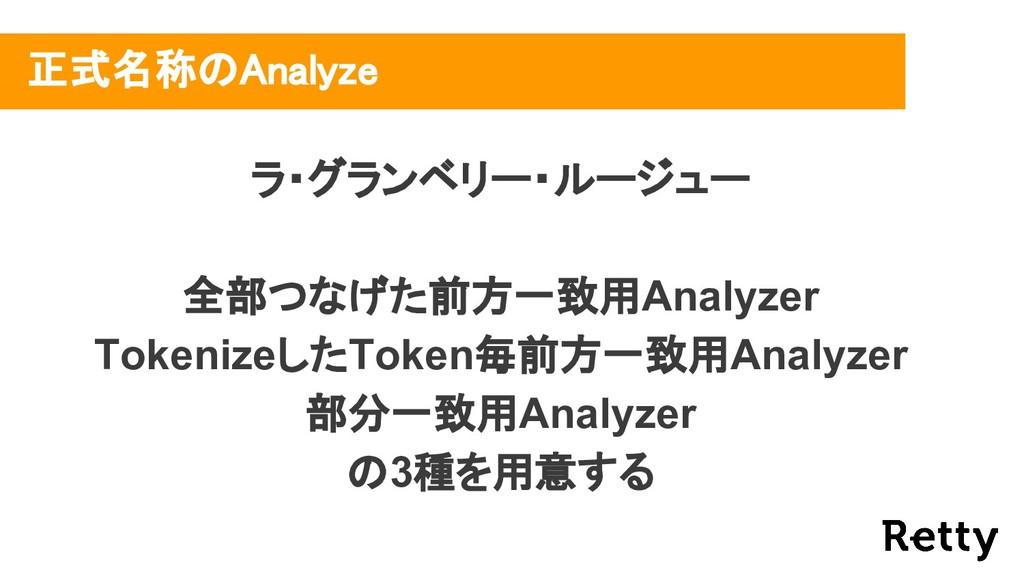 正式名称のAnalyze ラ・グランベリー・ルージュー 全部つなげた前方一致用Analyzer...