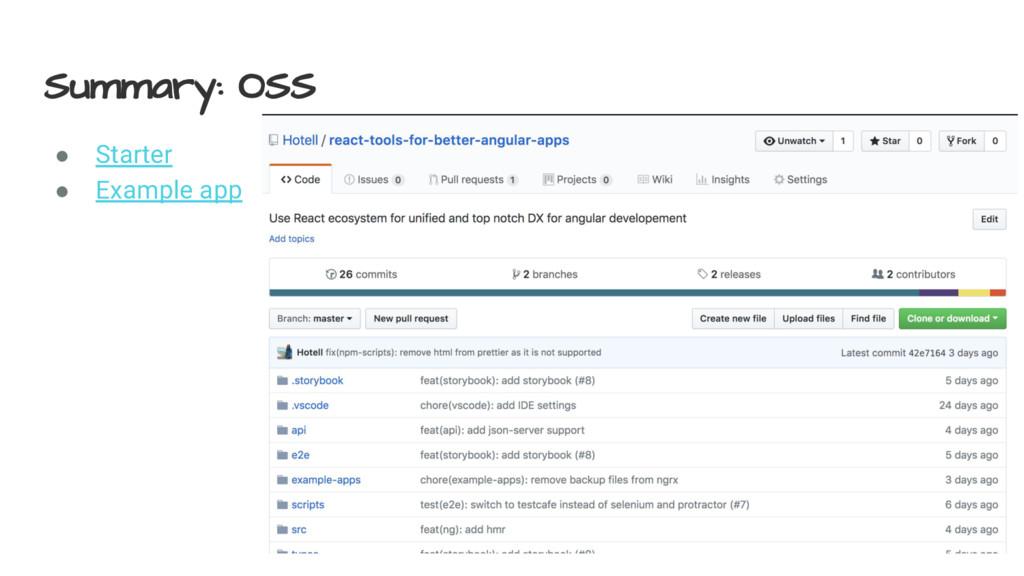 Summary: OSS ● Starter ● Example app