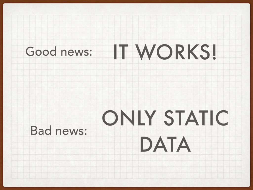 IT WORKS! Good news: Bad news: ONLY STATIC
