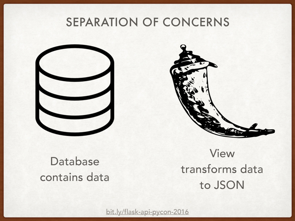 SEPARATION OF CONCERNS Database contains data V...