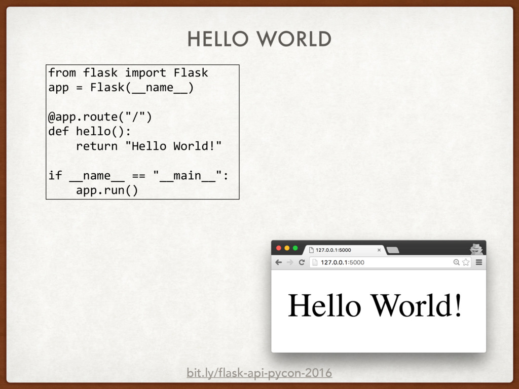 HELLO WORLD from flask import Flask app = Flask...