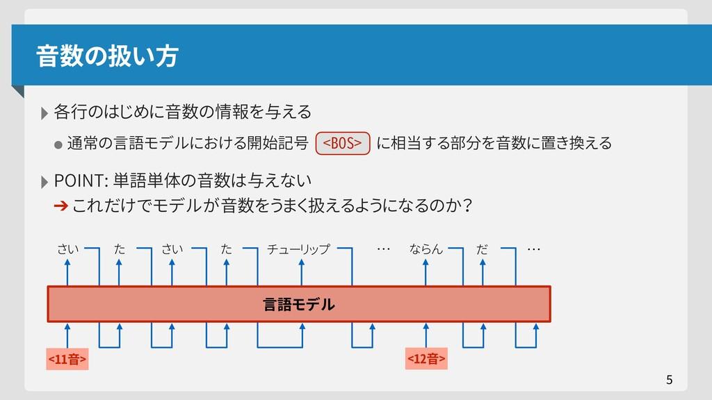 音数の扱い方 ‣各行のはじめに音数の情報を与える •通常の言語モデルにおける開始記号 <BOS...