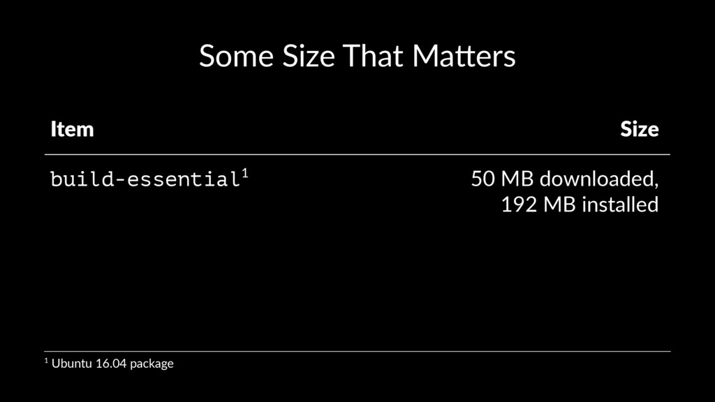 Some Size That Ma-ers Item Size build-essential...